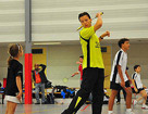 Badminton clinic en training